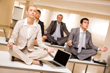 Meditating business partners